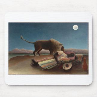 アンリ・ルソー睡眠のジプシーのライオンの月夜 マウスパッド