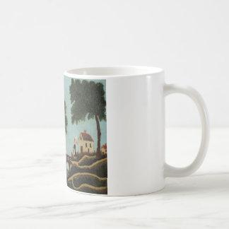 アンリ・ルソー著橋との景色 コーヒーマグカップ