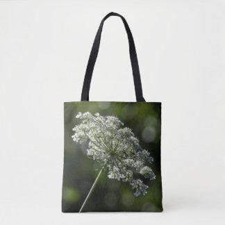 アン女王のレースの白い野生の花のトートバック トートバッグ