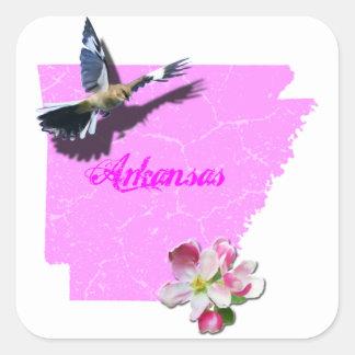 アーカンソーのマネシツグミ及びAppleの花 スクエアシール