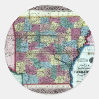 アーカンソーの古い1854年の地図 ラウンドシール