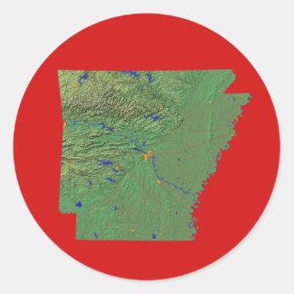 アーカンソーの地図のステッカー ラウンドシール