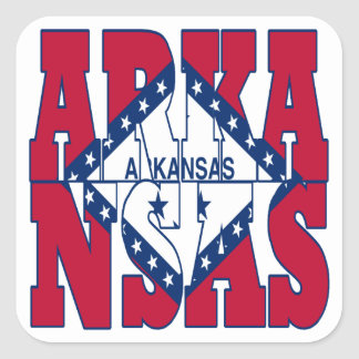 アーカンソーの州の旗の文字 スクエアシール