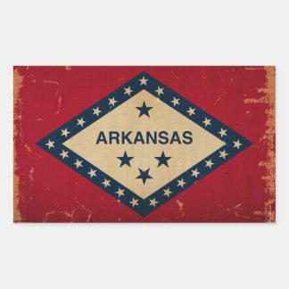 アーカンソーの州の旗VINTAGE.png 長方形シール