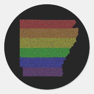 アーカンソーの虹のプライドの旗のモザイク ラウンドシール