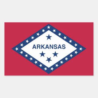 アーカンソー、米国の旗が付いている長方形のステッカー 長方形シール