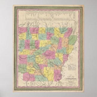 アーカンソー(1853年)のヴィンテージの地図 ポスター