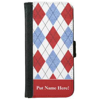 アーガイル柄のでプレッピーで及び上品な電話箱 iPhone 6/6S ウォレットケース