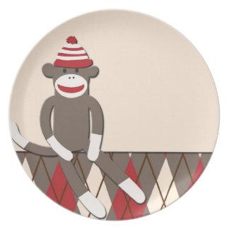 アーガイル柄のなソックス猿のプレート プレート
