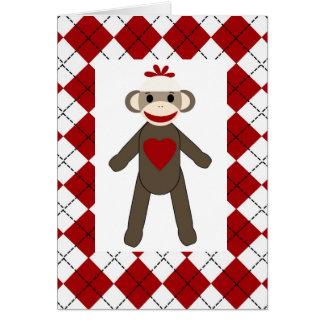 アーガイル柄のなソックス猿愛空白のなカード カード