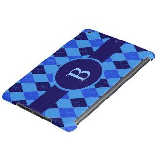 アーガイル柄のなパターン青くカスタムで名前入りなモノグラム
