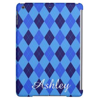 アーガイル柄のなパターン青くカスタムで名前入りな名前 iPad AIRケース