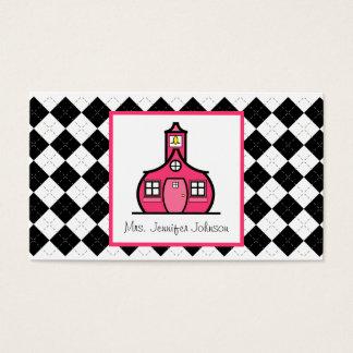 アーガイル柄のなピンクの校舎の先生 名刺