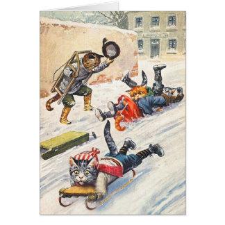 アーサーThiele -ボブスレーに乗る人間の形をした猫 カード