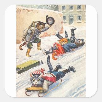 アーサーThiele -ボブスレーに乗る人間の形をした猫 スクエアシール