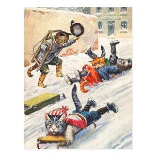 アーサーThiele -ボブスレーに乗る人間の形をした猫 ポストカード