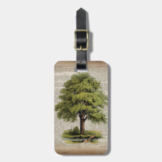 アースデーのエコ辞書はヴィンテージのオークの木を印刷します ラゲッジタグ