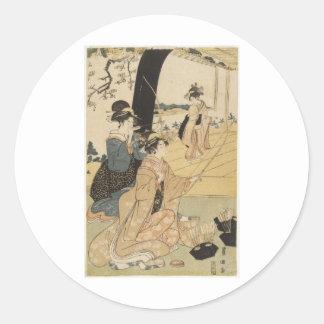 アーチェリーc. 1798年を練習している日本のな女性 ラウンドシール