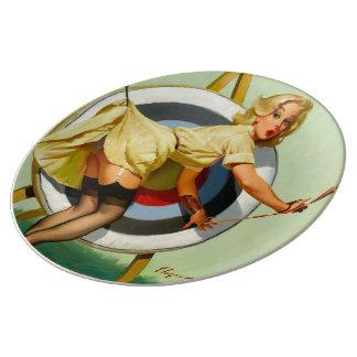 アーチェリーPinの女の子 磁器プレート