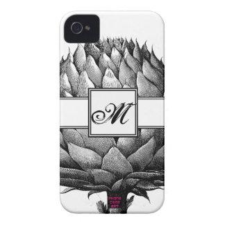 アーティチョークの野菜黒く及び白いスケッチのモノグラム Case-Mate iPhone 4 ケース