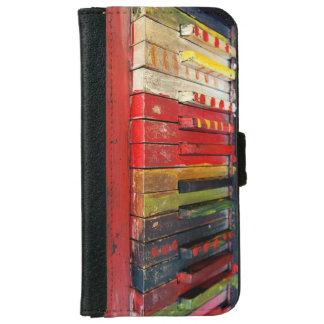 アートで色彩の鮮やかなピアノはヴィンテージの写真の電話箱を調整します iPhone 6/6S ウォレットケース