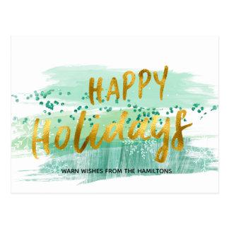 アートな緑の水彩画の金ゴールドの幸せな休日 ポストカード