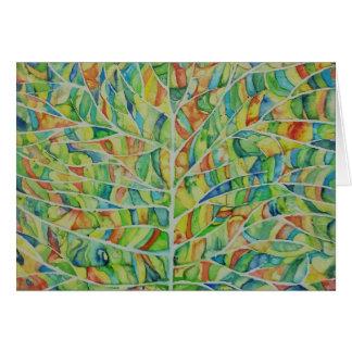 アートな葉の水彩画の挨拶状 カード
