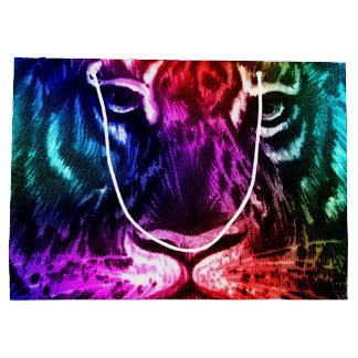 アートな虹のトラ ラージペーパーバッグ