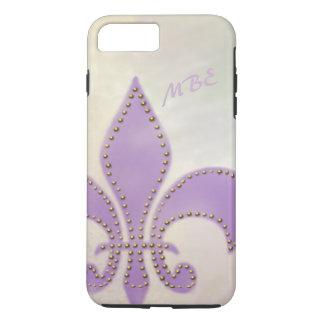 アートな謝肉祭の紫色の(紋章の)フラ・ダ・リ iPhone 8 PLUS/7 PLUSケース