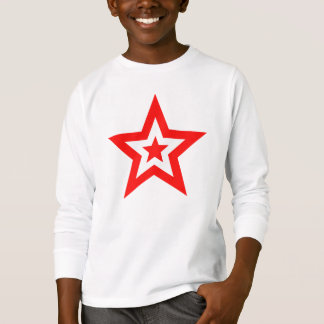 アートな赤と白の星 Tシャツ