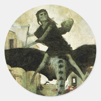 アーノルドBocklinのヴィンテージの象徴性著ペスト ラウンドシール
