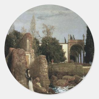 アーノルドBocklinの象徴性の芸術著海による別荘 ラウンドシール