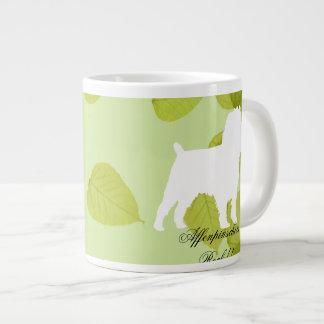 アーフェンピンシャーの緑の葉のデザイン ジャンボコーヒーマグカップ