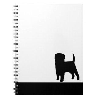 アーフェンピンシャー犬の黒のシルエットのノート ノートブック