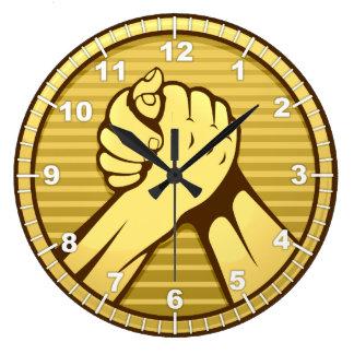 アームレスリングの金ゴールド ラージ壁時計