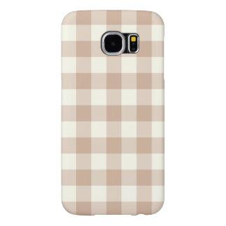 アーモンドのギンガムパターンSamsungの銀河系S6の箱 Samsung Galaxy S6 ケース