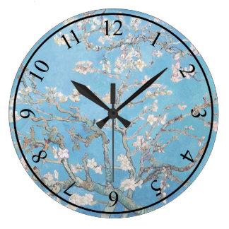 アーモンドは青いフィンセント・ファン・ゴッホの芸術の絵画活気付きます ラージ壁時計