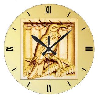 アールデコによって切り分けられる石造りの《鳥》ハヤブサ-金ゴールド ラージ壁時計