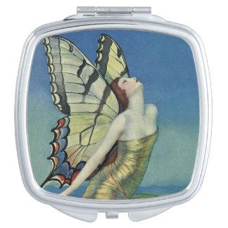 アールデコのお洒落な蝶によって映されるコンパクト