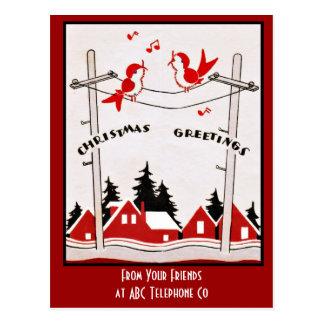 アールデコのクリスマスの鳥 ポストカード