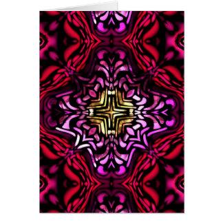 アールデコのスタイルの赤いガラス挨拶状 カード
