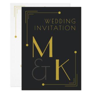 アールデコのスタイル1920の黒い金ゴールドの結婚式招待状 カード