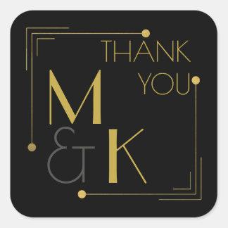 アールデコのスタイル1920の黒い金ゴールドはステッカー感謝していしています スクエアシール