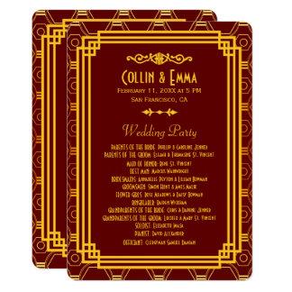 アールデコのバーガンディの結婚式プログラム カード