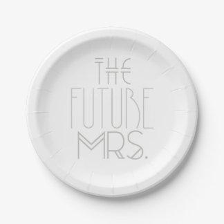 アールデコのボヘミアの花嫁|未来の夫人|のプレート ペーパープレート