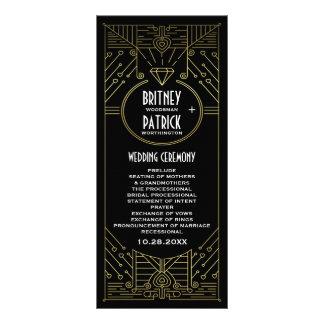 アールデコのヴィンテージの金ゴールドおよび黒い結婚式プログラム ラックカード