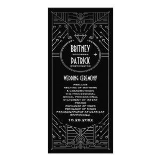 アールデコのヴィンテージの黒く、銀製の結婚式プログラム ラックカード