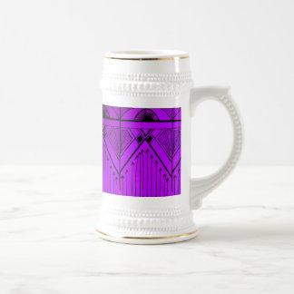 アールデコの効果のデザインのラベンダーの紫色の黒 ビールジョッキ
