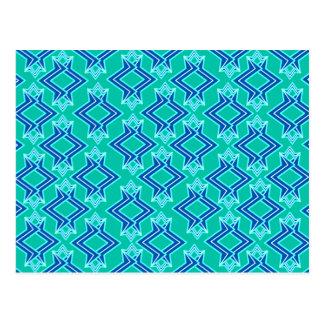 アールデコの壁紙のパターン、ターコイズおよびコバルト ポストカード