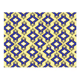 アールデコの壁紙のパターン、ベージュ色および青 ポストカード